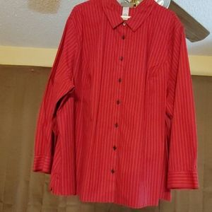 Catherine's Red Black Pin Stripe Button Down Shirt